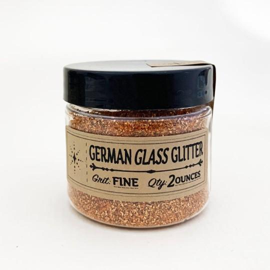 German Glass Glitter in Pumpkin Orange ~ Medium Grit ~ 2 oz in Jar