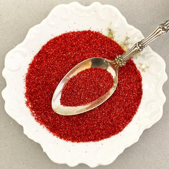 German Glass Glitter in Ruby Red ~ Fine Grit ~ 2 oz in Jar