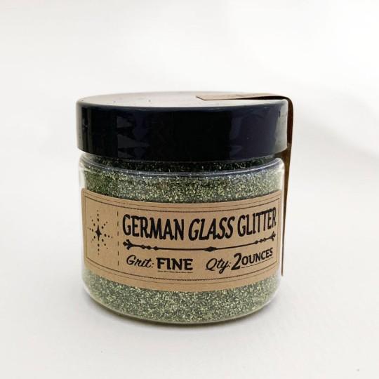 German Glass Glitter in Sage Green ~ Fine Grit ~ 2 oz in Jar