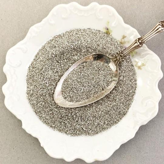 Silver German Glass Glitter ~ Fine Grit ~ 2 oz in Jar