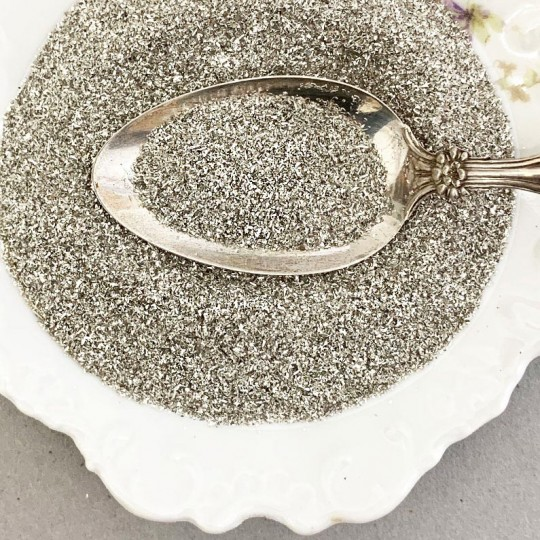 Silver German Glass Glitter ~ Fine Grit ~ 2 oz in Jar