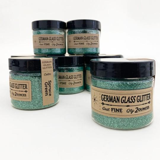 German Glass Glitter in Spruce Green ~ Fine Grit ~ 2 oz in Jar