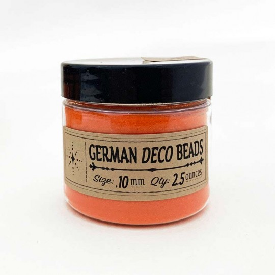 Finest German Glass Deco Beads in CLEAR ORANGE ~ .1mm size ~ 2.5 oz in Jar