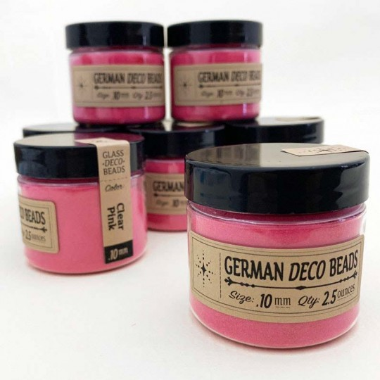 Finest German Glass Deco Beads in CLEAR PINK ~ .1mm size ~ 2.5 oz in Jar