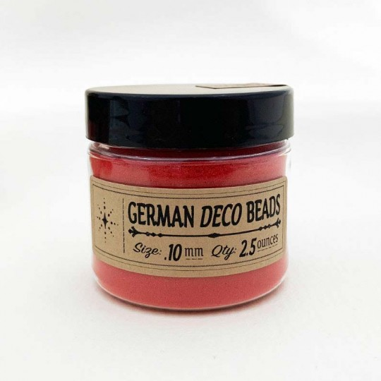 Finest German Glass Deco Beads in CLEAR RED ~ .1mm size ~ 2.5 oz in Jar