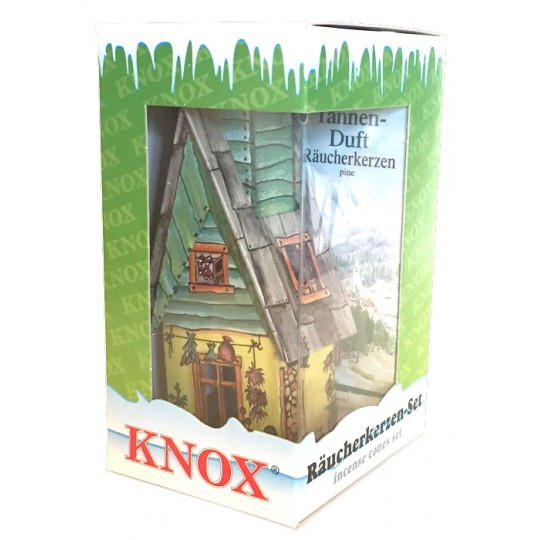 Yellow and Green Springtime Garden Shed Incense Smoker with Box of Pine Incense ~ Germany ~ Gift Boxed