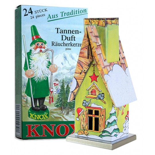 Green Forest Cottage Incense Smoker with Box of Pine Incense ~ Germany ~ Gift Boxed