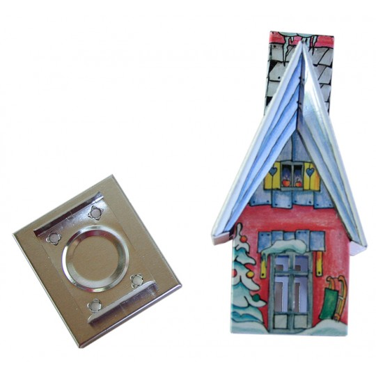 Blue and Red Winter Cottage Incense Smoker ~ Germany