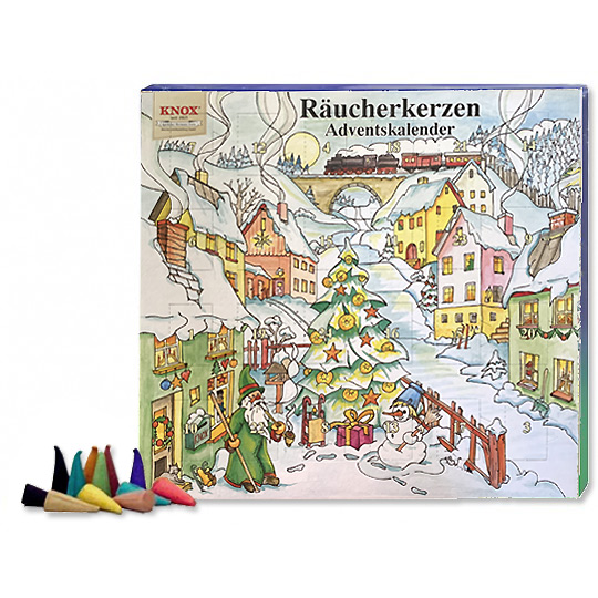 Knox Incense Advent Calendar Filled with 24 Incense Cones in Mixed Scents ~ Snowy Village