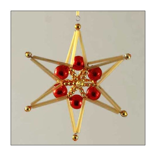 Braided Star Ornament Glass Bead Project Kit ~ Red and Gold  ~ Czech Republic