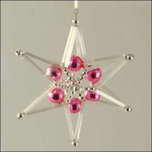 Braided Star Ornament Glass Bead Project Kit ~ Pink and Silver  ~ Czech Republic