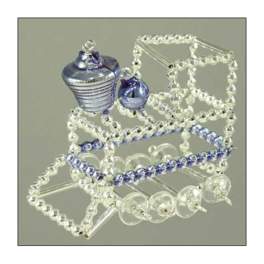 Train Ornament Glass Bead Project Kit ~ Silver and Blue  ~ Czech Republic