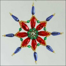 Fancy Snowflake Ornament Glass Bead Project Kit ~ Multi-Colored  ~ Czech Republic