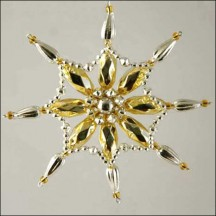 Fancy Snowflake Ornament Glass Bead Project Kit ~ Pale Gold and Silver  ~ Czech Republic
