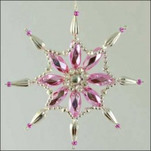 Fancy Snowflake Ornament Glass Bead Project Kit ~ Pink and Silver  ~ Czech Republic