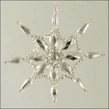 Fancy Snowflake Ornament Glass Bead Project Kit ~ Silver  ~ Czech Republic
