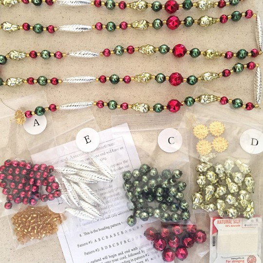 Traditional Christmas Colors Glass Bead Garland Project Kit ~ 75 inches long Completed