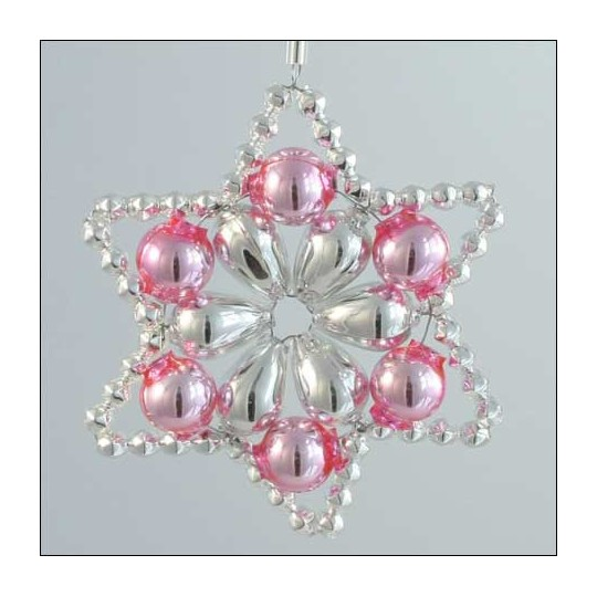 Flower Star Ornament Glass Bead Project Kit ~ Silver and Pink  ~ Czech Republic