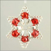 Flower Star Ornament Glass Bead Project Kit ~ Silver and Red  ~ Czech Republic