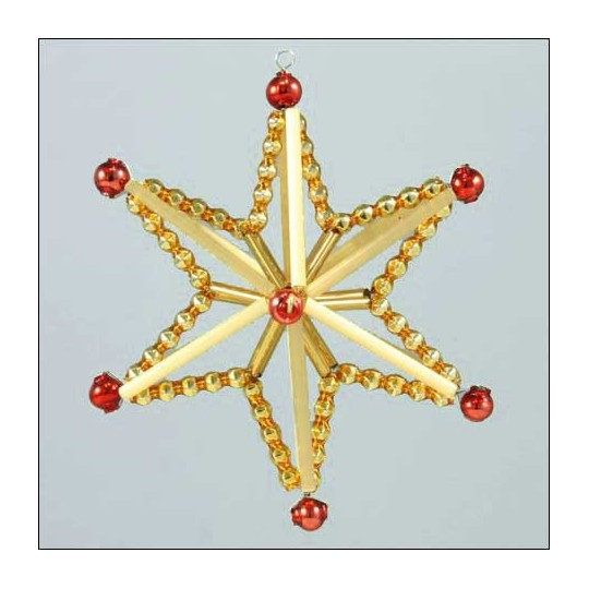 Magic Star Ornament Glass Bead Project Kit ~ Red and Gold  ~ Czech Republic