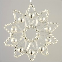 Lace Star Ornament Glass Bead Project Kit ~ Silver and Matte White  ~ Czech Republic