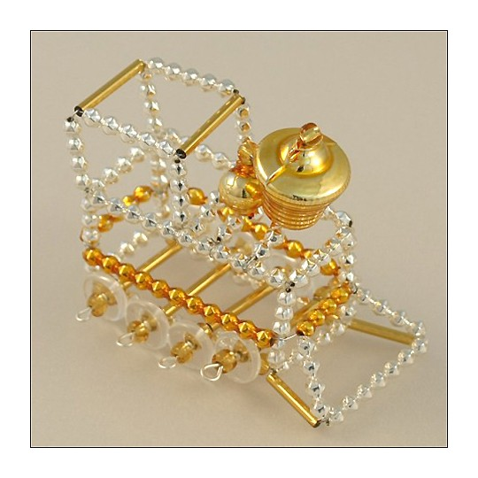 Train Ornament Glass Bead Project Kit ~ Silver and Gold  ~ Czech Republic
