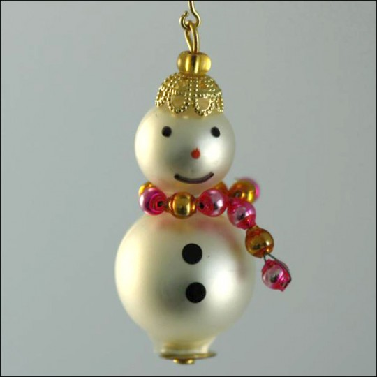 Snowman Ornament Glass Bead Project Kit ~ Pink and Gold  ~ Czech Republic