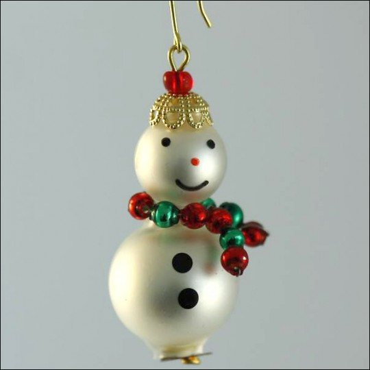 Snowman Ornament Glass Bead Project Kit ~ Red and Green  ~ Czech Republic