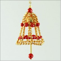 Bell Ornament Glass Bead Project Kit ~ Red and Gold  ~ Czech Republic