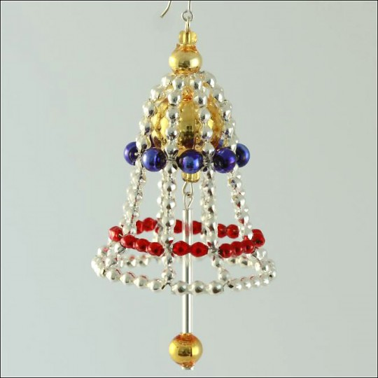 Bell Ornament Glass Bead Project Kit ~ Red, Gold, Blue  ~ Czech Republic