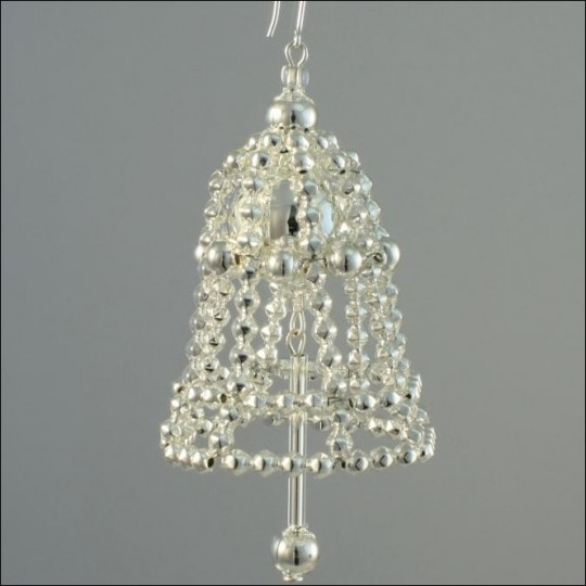 Bell Ornament Glass Bead Project Kit ~ Silver  ~ Czech Republic