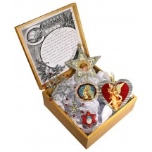 6 Piece Fancy Silver and Red Mixed Christmas Keepsake Ornament Set