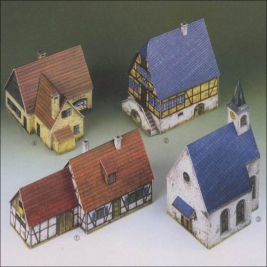Four Small Buildings Paper Project Kit ~ Germany