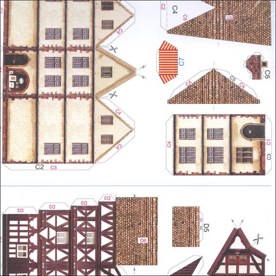 Four Petite Old Town Houses Paper Project Kit ~ Germany