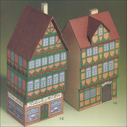 Two Petite Houses from Celle Paper Project Kit ~ Germany