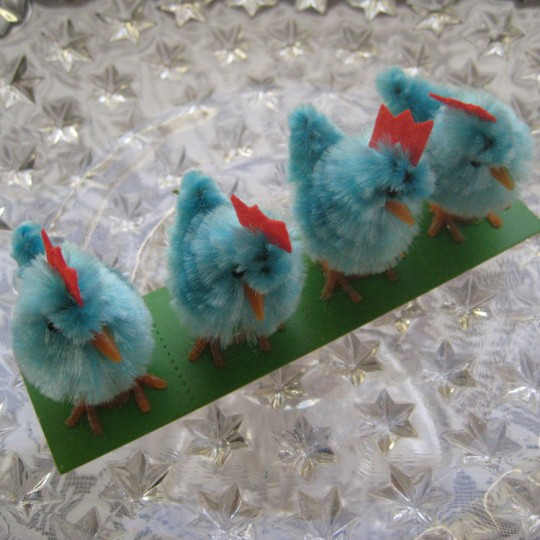 4 Vintage Chenille Easter Chicks ~ Old Store Stock ~ Aqua