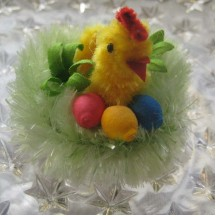 Chenille Chick on Nest with Eggs ~ Czech Republic