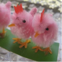 4 Vintage Chenille Easter Chicks ~ Old Store Stock ~ Pink