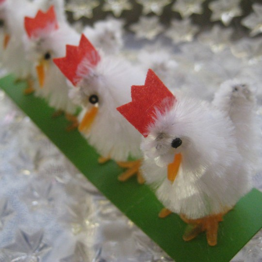 4 Vintage Chenille Easter Chicks ~ Old Store Stock ~ White