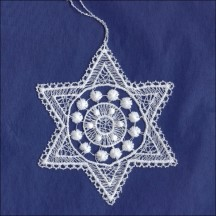 White Lace Star and Dot Snowflake Ornament ~ 3-1/2""