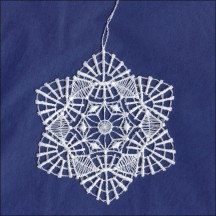 White Lace Starburst Snowflake Ornament ~ 3-1/4""