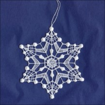 White Lace Diamond Dot Snowflake Ornament ~ 3-1/4""