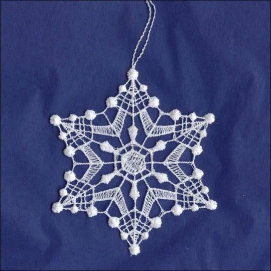"""White Lace Diamond Dot Snowflake Ornament ~ 3-1/4"""""""