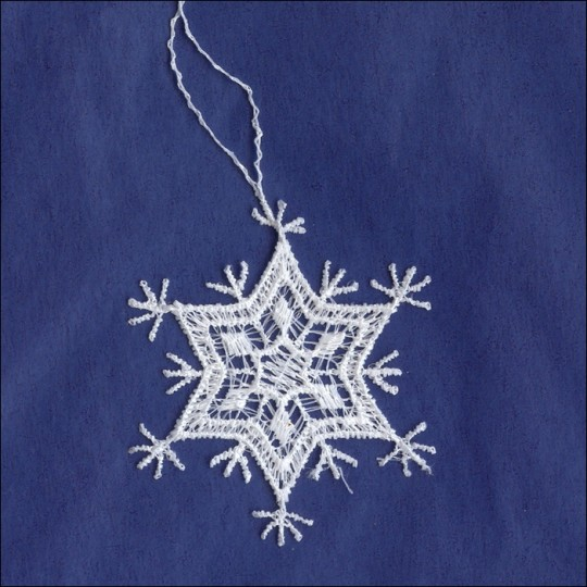 Petite White Lace Pointed Snowflake Ornament ~ 2""