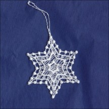 Petite White Dotty Star Pointed Snowflake Ornament ~ 2-1/4""