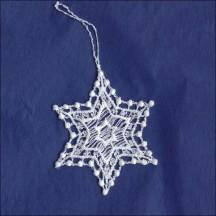 "Petite White Dotty Star Pointed Snowflake Ornament ~ 2-1/4"""
