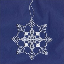 White Lace Open Snowflake Ornament ~ 3-1/2""