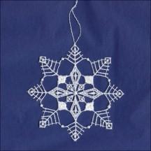 "White Lace Open Snowflake Ornament ~ 3-1/2"""