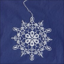 White Lace Loop and Flower Snowflake Ornament ~ 3-1/2""