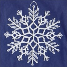 White Lace Icy Snowflake Ornament ~ 4""